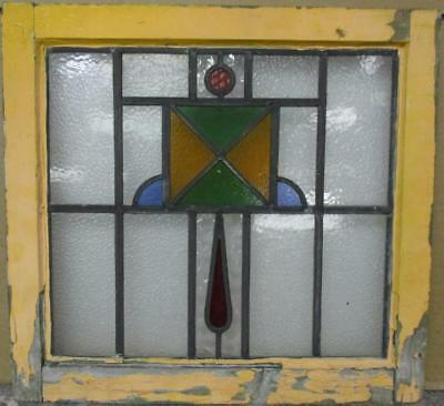 """OLD ENGLISH LEADED STAINED GLASS WINDOW Colorful Geometric 20.25"""" x 18.75"""""""