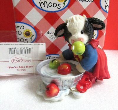 Mary's Moo Moos YOU'RE MOO HERO Bobbing for Apples Halloween Cow Figurine