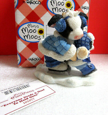Mary's Moo Moos EVERYONE NEEDS A HOOF TO HOLD ONTO Winter Snow Cow Figurine