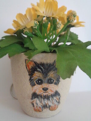 HAND PAINTED DOG ART~~YORKIE YORKSHIRE Terrier DECORATIVE HANGING PLANT~OOAK