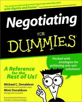 Negotiating For Dummies by Donaldson, Mimi Paperback Book The Cheap Fast Free