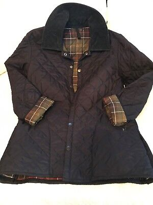 XS BARBOUR Men's Classic Eskdale Blue Quilted Snap Jacket-Womens M