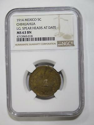 Mexico 1914 5 Centavos Spear Chihuahua Ngc Ms63 Graded Toned Coin Collection Lot