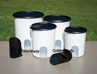 NEW Tupperware One Touch Reminder Canisters plus Scoops with Black Seals