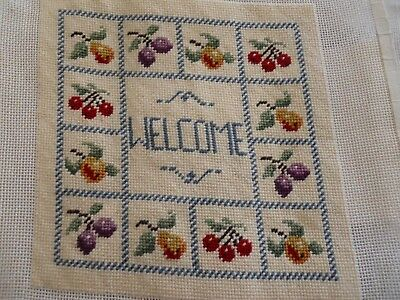 Susan Treglown Finished Needlepoint Welcome Fruits Border