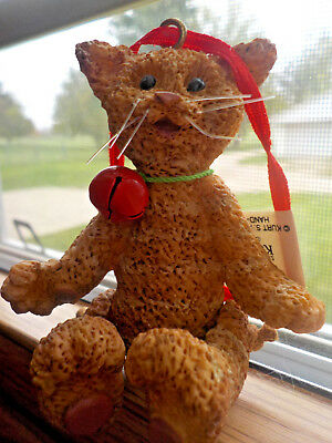 Hand-Crafted Kurt Adler Tabby Cat Christmas Tree Ornament with Movable Joints
