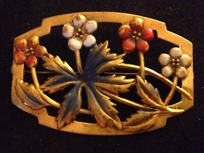 Antique Vintage Framed Flowers Brass Pin hand painted - collector!