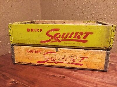 Lof of (2) Vintage Squirt Soda Pop Wood Crates Bottle Carriers