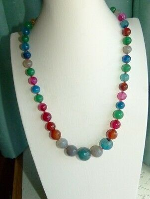 Jewellery  Lovely Multi Faceted Mixed Coloured Glass Ball Bead Necklace 225