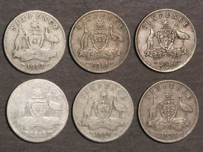 AUSTRALIA 1912-1921 6 Pence Silver - 6 Coins/Dates