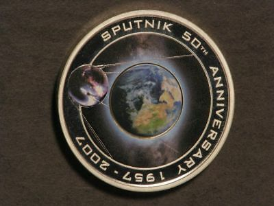 COOK ISLANDS 2007 $1 Sputnick 1 Oz. Silver Colorized Proof