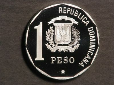 DOMINICAN REPUBLIC 1990 1 Peso Discovery Silver Choice Proof