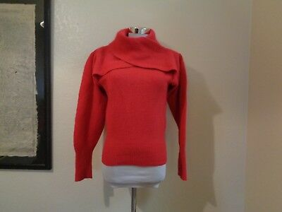 80s RICHARD & CO RED LAMBSWOOL/ANGORA COWL NECK SWEATER SZ S/M