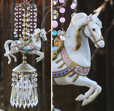 Porcelain Horse Carousel Child Lamp SWAG Vintage lilac blue opalin Beads Crystal