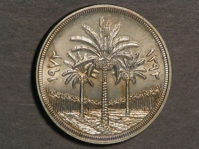 IRAQ 1972 1 Dinar 25th Anniv. Central Bank Silver UNC - USA SHIPPING ONLY