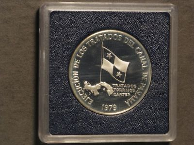 PANAMA 1979 5 Balboas Panama Canal Silver Choice Proof in Lucite Case - Mtg=6854