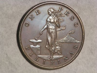 PHILIPPINES 1906 1 Peso Silver Crown - Proof Only Issue - XF-AU - Mintage = 500