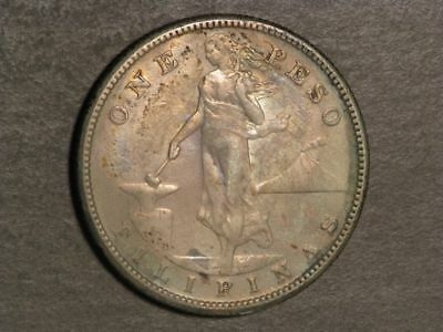PHILIPPINES 1912S 1 Peso Silver Crown XF-AU - Key Date