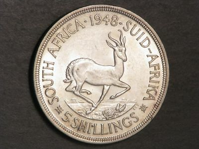 SOUTH AFRICA 1948 5 Shillings Silver Crown UNC