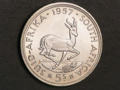 SOUTH AFRICA 1957 5 Shillings Silver Crown BU