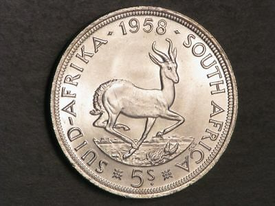 SOUTH AFRICA 1958 5 Shillings Silver Crown BU
