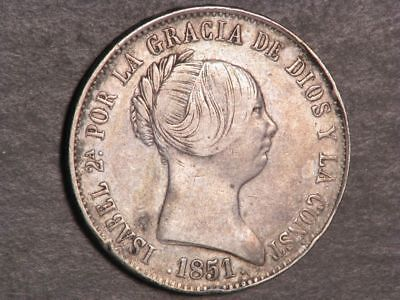 SPAIN 1851 10 Reales Silver F-VF