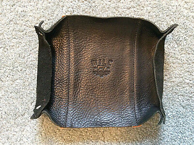 """WILL LEATHER GOODS 7""""x5.5"""" Leather Dresser Tray Catchall~Black~New!"""