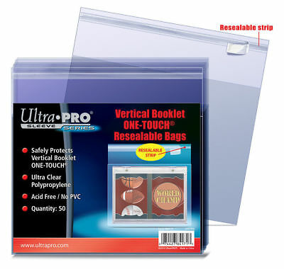 50 Ultra Pro Vertical Booklet One Touch Resealable Bags New Unused Free Shipping
