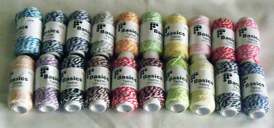 Francheville Basics Twine 20 Assorted Colours 100% Cotton each 20M Long