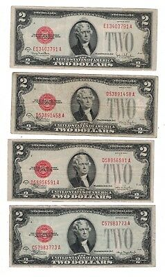 Eight 1928 Series $2 Red Seal - Lot of 8 Old US Notes SD85