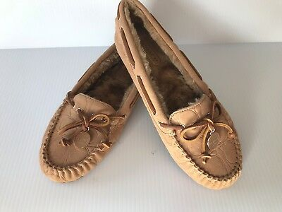 f92936d062a COACH Women Amelia Suede Shearling Moccasins Slipper Shoes 7 M Light Camel  NEW
