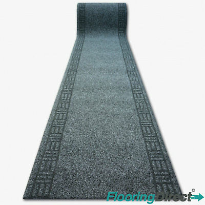Heavy Duty Black Anthracite Carpet Runner Hallway Stair Non-Slip Rug Door Mat