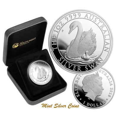 Rare: 1 oz Silver  ... 2018 Swan Proof Coin ... 2,500 Mintage ... Cert No: 2,340
