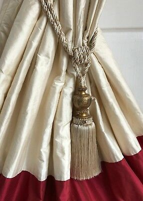 "*LAST PAIR* 100% Silk Interlined Curtains 102""w 82""d Pale Cream Red New Linings"
