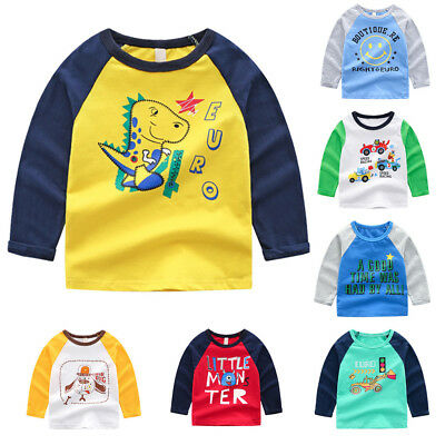 Children Kids Baby Girls Boy Long Sleeve Cartoon Tee Tops Shirts Cute Clothes UK