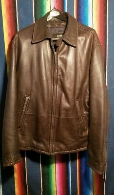 94707b841 BOSS BY HUGO Boss Men's Leather Motorcycle Jacket Brown Size 40R ...