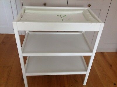 Kiddicare baby Changing Table Unit. White. With shelves and changing mat.