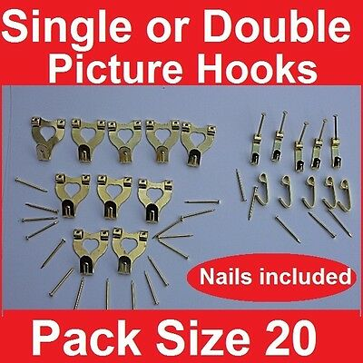 20 x PICTURE HOOKS ~ SINGLE OR DOUBLE ~ BRASS PLATED HOOK ~ PINS NAILS INCLUDED