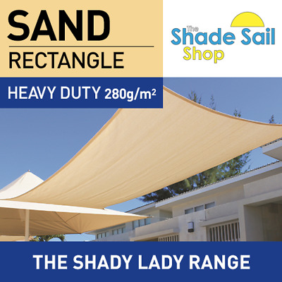 Rectangle SAND 2m x 6m Shade Sail Sun Heavy Duty 280GSM Outdoor BEIGE 2 x 6 m