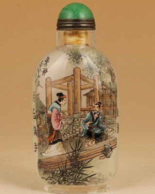Antique Rare chinese Old Glass inside painting handmade luban Snuff bottle Art
