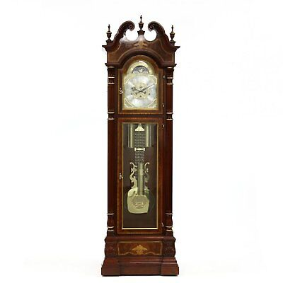 Fine Charles Sligh Inlaid Mahogany Grandfather Hall Tall Case Clock