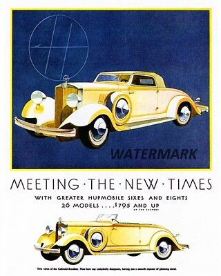 1932 Hupmobile Color Print Ad Reproduction Photo 8 X 10 Picture Free Shipping