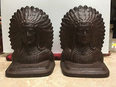 """Vintage Pair Of """"Iron Will Indian Bookends"""" Cast Iron"""
