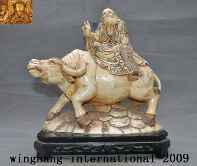 Chinese Taoism Cattle bone carved Taishang Laojun Man Old Ride Cattle Cow Statue