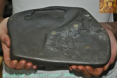 """9""""Old Chinese dynasty stone carved pine landscape Ink-stone ink slab Inkwell box"""