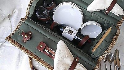 """Christmas Mercedes """"Bertha Benz"""" Picnic Wine Basket for (2) Two:"""