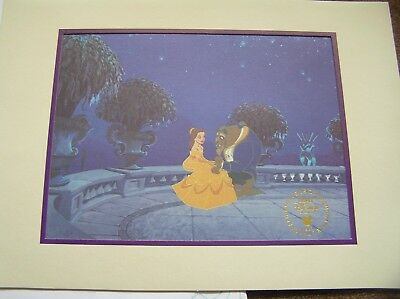 Walt Disney 1993 Beauty And The Beast Commemorative Lithograph Envelope & Mount