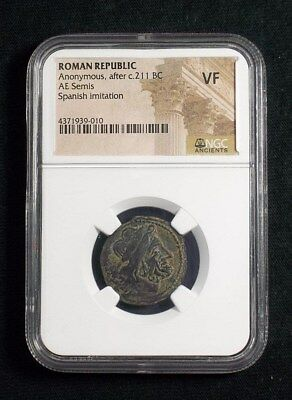 Roman Republic Anonymous AE Semis, Spanish issue after 211 BC NGC VF 9010