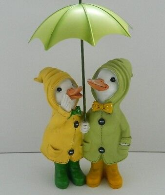 Puddle Duck Couple With Umbrella Ornament Gift Collectable 30 Cm