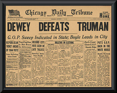 1948 Dewey Defeats Truman Error Newspaper Cover Reprint On 70 Year Old Paper 186
